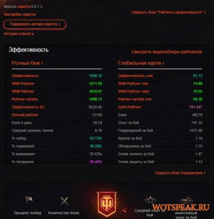 Скрипт расширенной статистики для оф. сайта World of tanks 0.9.16 WOT