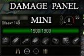 Минималистичная дамаг панель Mini для World of tanks 0.9.20.1 WOT (2 варианта)